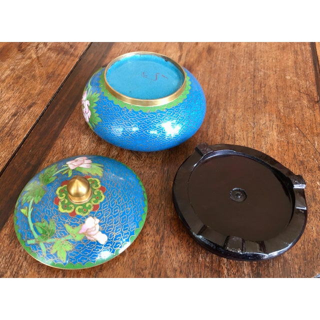 Blue 1970s Chinese Cloisonne Trinket Box For Sale - Image 8 of 13