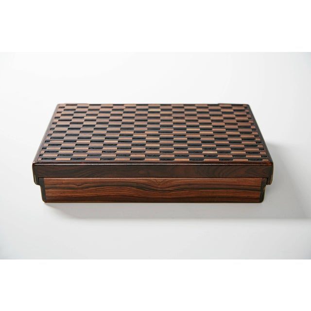 1970s Don Shoemaker for Señal Exotic Wood Inlaid Decorative Briefcase For Sale - Image 10 of 11