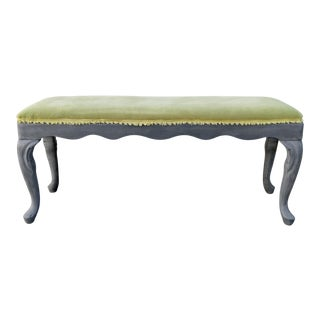 Reupholstered Green Velvet Vintage Bench