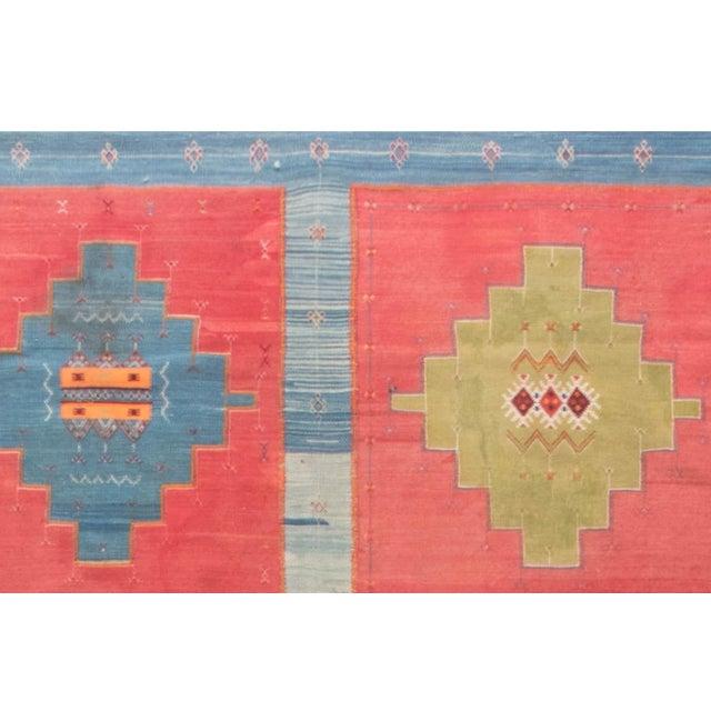 Blue, Pink and Sandy Beige Vintage Turkish Kilim Rug For Sale In New York - Image 6 of 9