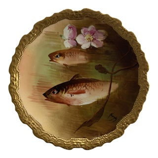 Early 20th Century Limoges Hand Painted Coronet Fish Plate For Sale