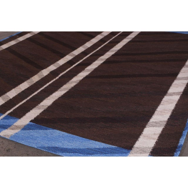 Mid-Century Modern Swedish Flatweave in Custom Design Rug - 9' X 12' For Sale - Image 3 of 6