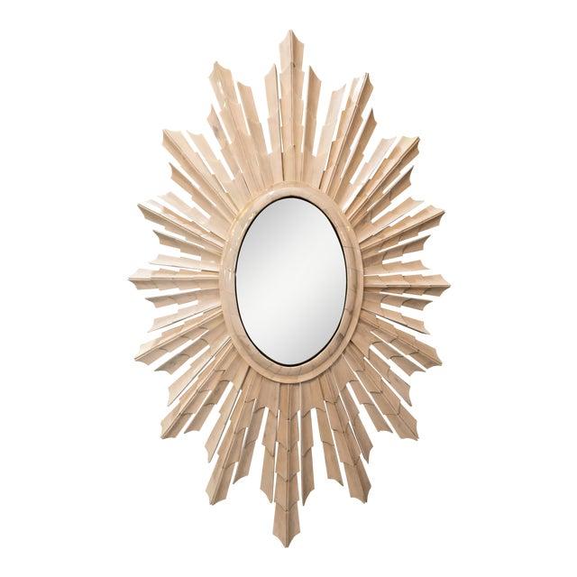 Italian Bone Sunburst Mirror with Convex Glass - Image 1 of 6