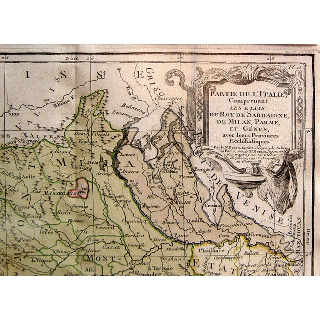 Hand-colored engraved map of northern Italy by Louis Brion de la Tour (1756-1823) Royal Cartographer to the King of...