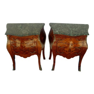 French Louis XV Style Painted Green Marble Top Side Tables - a Pair For Sale