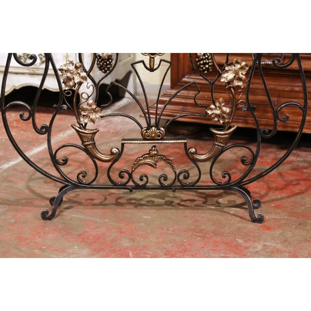 Mid 20th Century Mid-20th Century French Louis XV Wrought Iron Fireplace Screen With Vine Motifs For Sale - Image 5 of 10