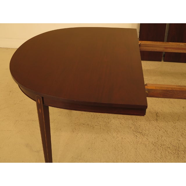 Brown Henkel Harris Inlaid Federal Mahogany Dining Room Table For Sale - Image 8 of 13