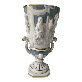 Italian Blue White and Gold Capodimonte Pedestal Vase For Sale