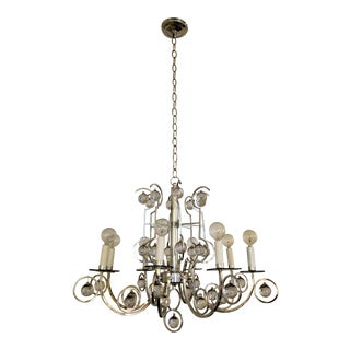 1970s Modern Chrome Crystal Ball Chandelier For Sale