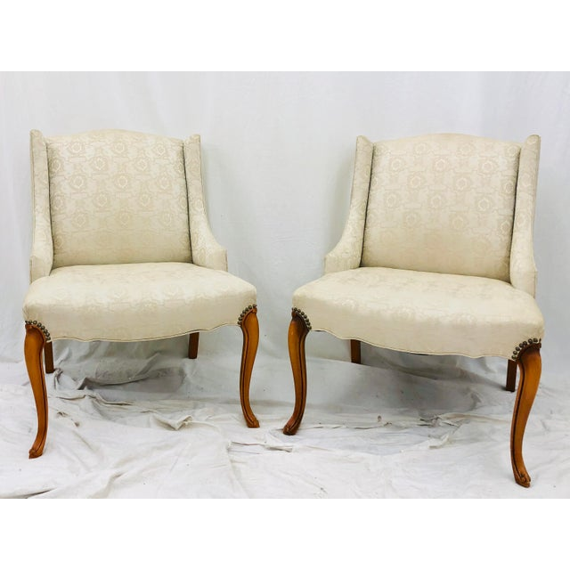 Pair Stunning Vintage Mid Century Side Chairs. Original finish fittings, Nailhead Detail, creamy white floral printed...