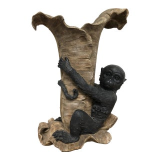 Monkey On Palm Tree Leaves Vase