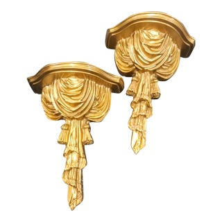 A Pair Gold Gilt Hollywood Regency Dorothy Draper Style Wall Draped Sconce Shelves For Sale