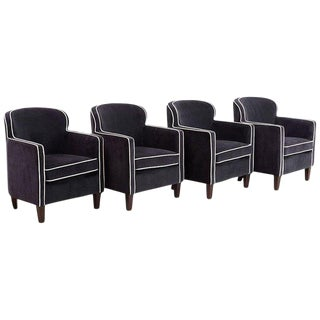 Set of Four Art Deco Style Velvet Club Chairs For Sale