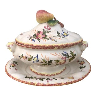 """Italian """"Primavera"""" by Ardalt Hand Painted Soup Tureen and Platter For Sale"""