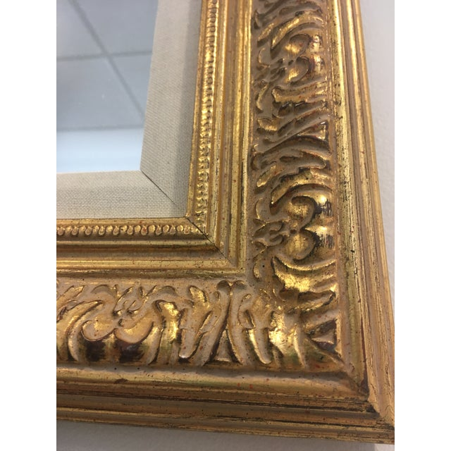 Gold Leafing Mirror With Fabric Inner Frame For Sale - Image 4 of 5