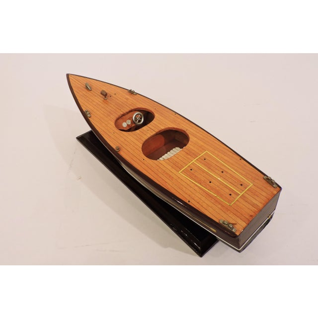 American Classical Handmade Wooden Model Vintage Speed Boat For Sale - Image 3 of 6