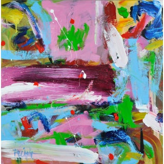 """""""Magenta Spackle Swath"""" Contemporary Abstract Expressionist Acrylic Painting by Robbie Kemper For Sale"""
