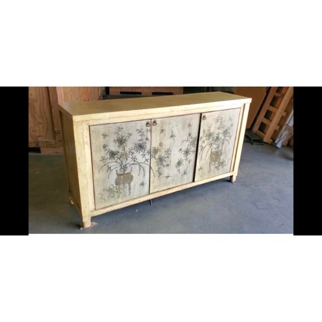 Wood 1970s Asian Style Credenza With Floral Motif Hand-Painted Door Panels For Sale - Image 7 of 11