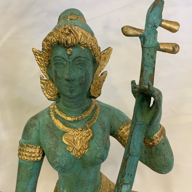 1960s Bronze Thai Musicians Statues - a Pair For Sale - Image 5 of 11