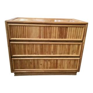 Large Vintage Rattan Dresser Made of Split Reed For Sale
