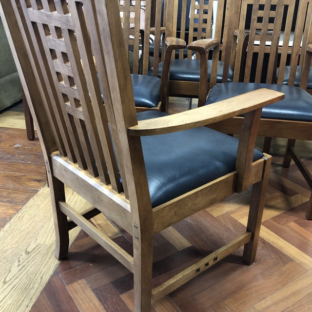 Stickley Furniture Metropolitan Collection Lattice Back + Leather Armchairs- Set of Six For Sale - Image 12 of 13
