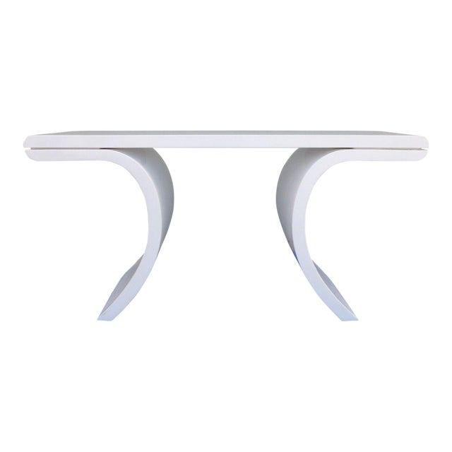 1970's Mid-Century Modern White Lacquer Console Table For Sale