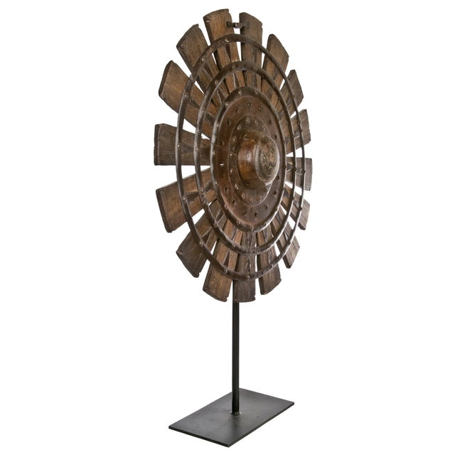 Vintage Wood Loom Wheel on Recycled Iron Stand I - Image 2 of 3