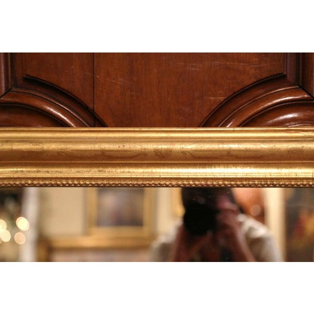 French 19th Century French Louis Philippe Gilt Wood Mirror With Engraved Floral Decor For Sale - Image 3 of 8