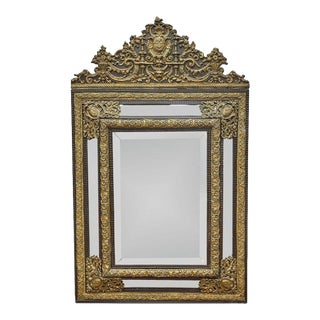 Antique French Tole & Wood Gilt Metal Mirror For Sale