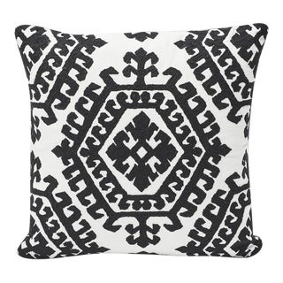 Modern Schumacher Omar Embroidery Print Double-Sided Pillow For Sale