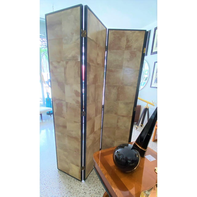 Vintage Jean Michel Frank Style Parchment Room Divider Screen For Sale - Image 9 of 11