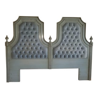 Vintage French Provincial Blue & Green Tufted Velvet King Headboard