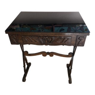 Antique English Carved Oak End Table With Crown and Black Glass Top For Sale
