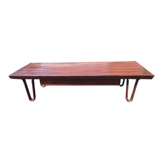 Edward Wormley for Dunbar Long John Bench With Drawer For Sale