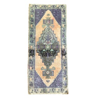 1990s Turkish Distressed Pastel Woven Purple Pink and Peach Runner Rug - 1′8″ × 4′1″ For Sale
