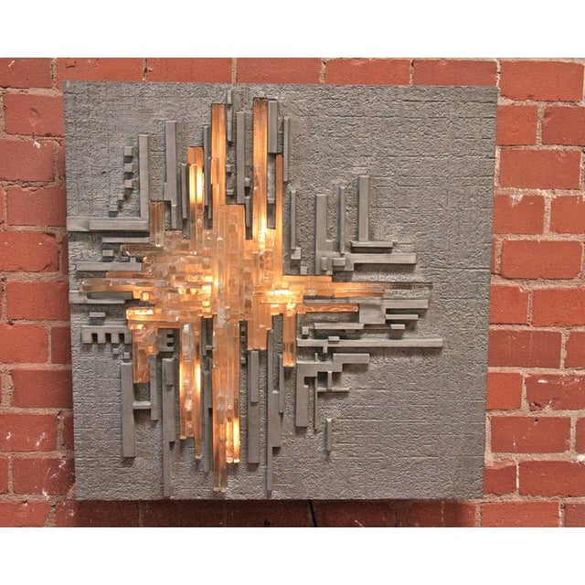 "Italian Poliarte by Akikaze Illuminated Wall Sculpture ""Rottura Spaziale"" For Sale - Image 3 of 6"