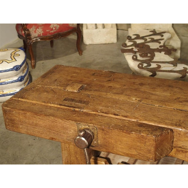 """Brown Antique """"Bourgogne"""" French Wine Carrier Converted From a Workbench For Sale - Image 8 of 13"""