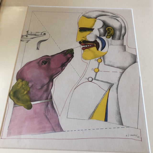 Original litho on paper signed bottom right 9 x 11.5 overall size with vintage frame & mat is 15 x 17.5