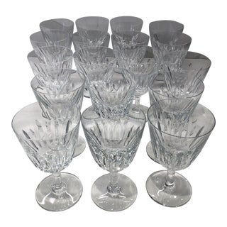 """1950s Vintage Baccarat 'Lorraine"""" Water/Wine Glasses - Set of 18 For Sale"""