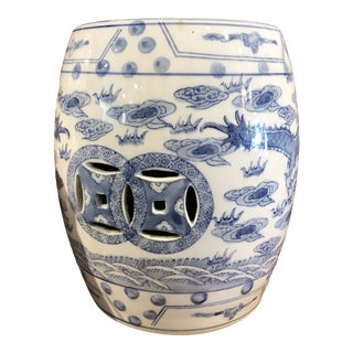 Vintage Blue & White Chinese Garden Seat For Sale