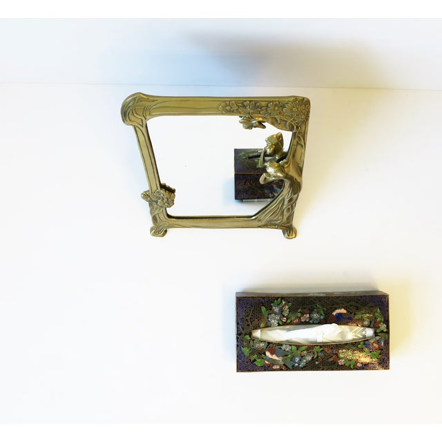 Late 20th Century Brass Vanity Mirror in the Art Nouveau Style For Sale - Image 5 of 12