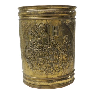 Vintage Oval Polished Brass Repousse Wastebasket For Sale