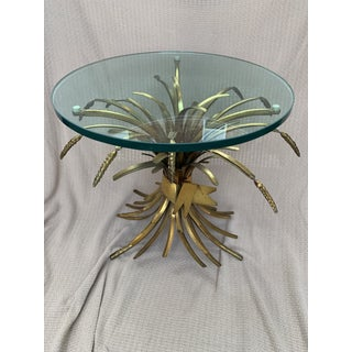 Vintage French Provincial Wheat Sheaf Glass Side Table Preview