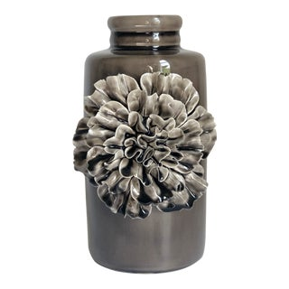 Ceramic Grey Flower Vase For Sale