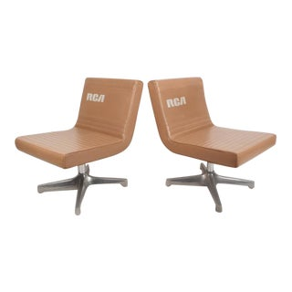 Mid-Century Modern Vinyl Slipper Chairs - A Pair For Sale