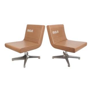 Mid-Century Modern Vinyl Slipper Chairs - A Pair