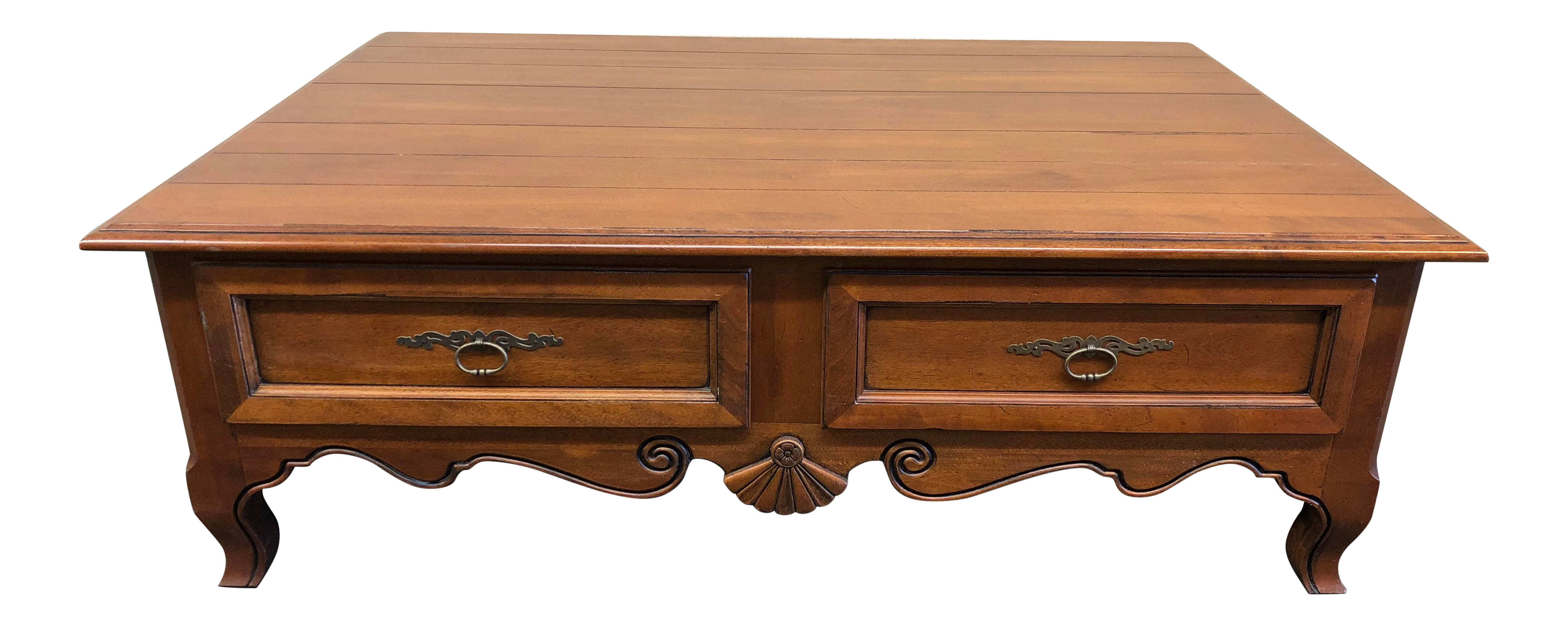 Ethan Allen Traditional Carved Wood Cocktail Table