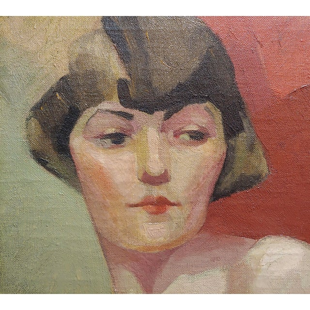 Reva Jackman -1927 Art Deco & Cubism Nude Female Portrait-Beautiful Oil Painting For Sale In Los Angeles - Image 6 of 10