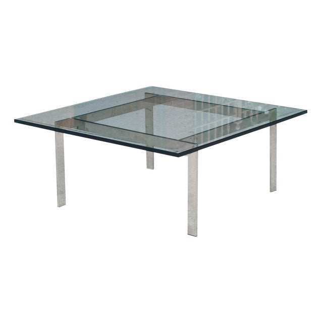 Milo Baughman Chrome & Glass Coffee Table - Image 1 of 6