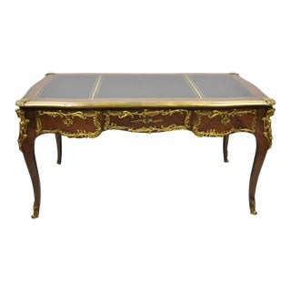 French Louis XV Style Leather Top Bronze Figural Ormolu Bureau Plat Writing Desk For Sale